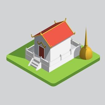 Templo tailandês isométrico