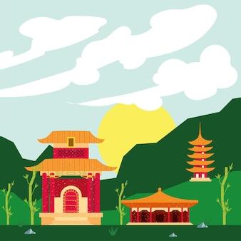 Templos chineses em paisagem