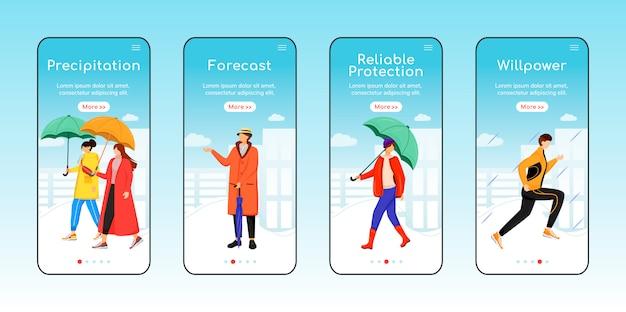 Tempo chuvoso andando onboarding modelo de tela de aplicativo móvel. precipitação, previsão. etapas do site passo a passo com caracteres. ux, interface do usuário, interface de desenho animado de smartphone gui, conjunto de impressões de caso