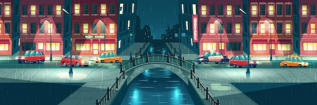 Tempo chuvoso e molhado em desenho animado da cidade à noite