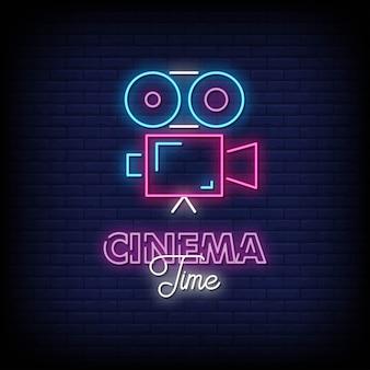 Tempo cinema sinais néon estilo texto vector