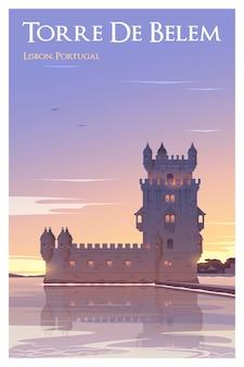 Tempo da torre de belém para viajar com pôster de vetor de qualidade
