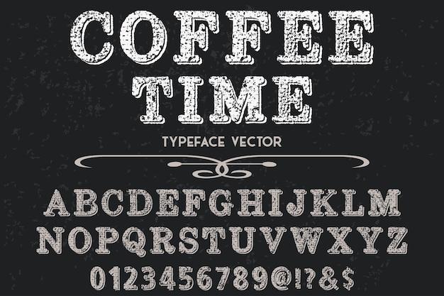 Tempo de café de design de rótulo de efeito sombra de alfabeto