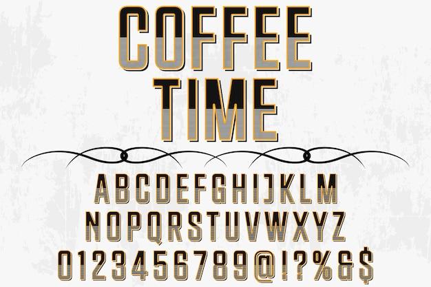 Tempo de café design retro rótulo tipografia