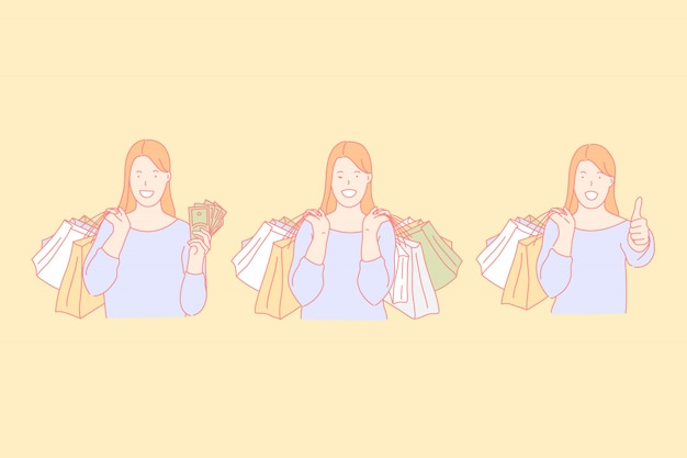 Tempo de compras, fazer compras, comprar apresenta o conceito