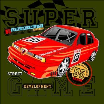 Tempo de corrida forte, ilustração vetorial carro