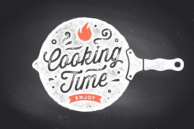 Tempo de cozimento. cartaz de cozinha. decoração da parede da cozinha, sinal, citação
