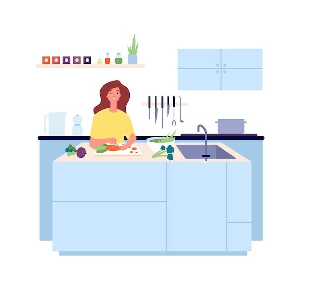 Tempo de cozimento. comida vegetariana, mulher cozinhando salada de legumes