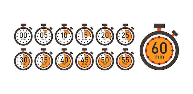 Tempo de cozimento conjunto de ícones de contador de tempo de 5 minutos a 1 hora. cronômetro, cronômetro e relógio, vetor