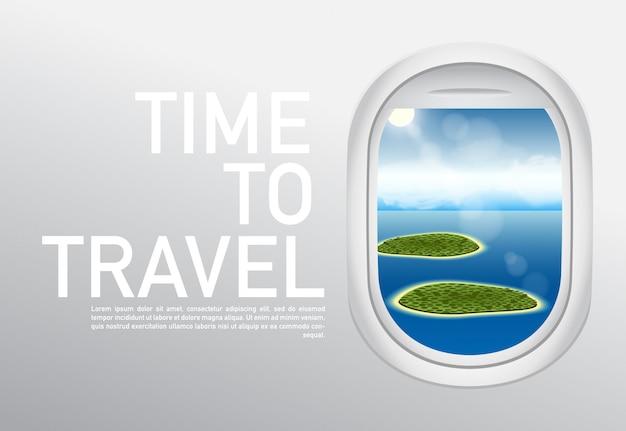Tempo de destinos de férias para viajar. banner da web