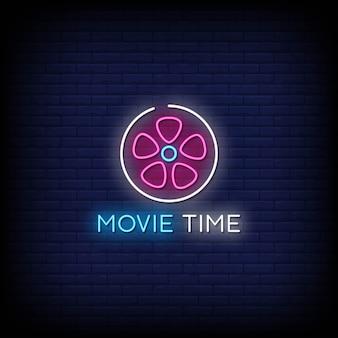 Tempo de filme sinais de néon estilo texto