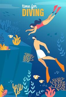 Tempo de inscrição de cartaz informativo para mergulho