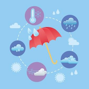 Tempo de inverno frio guarda-chuva nuvens vento e gotas de chuva