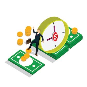 Tempo de negócios é dinheiro com conceito isométrico