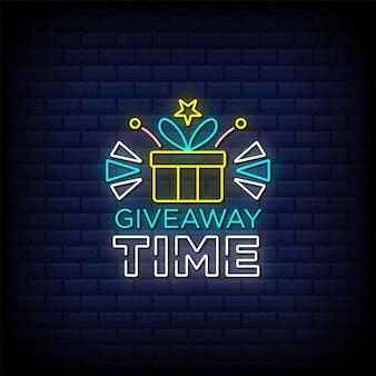 Tempo de oferta de texto em estilo de sinal de néon com ícone de caixa de presente