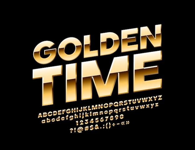 Tempo de ouro brilhante do sinal. letras, números e símbolos do alfabeto girado chique