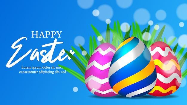 Tempo de páscoa feliz com colorido ovo realista 3d