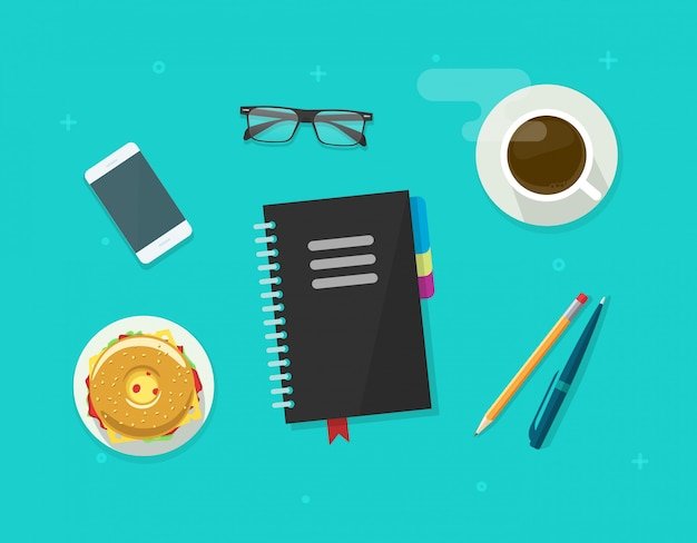 Tempo de pausa para café ou café da manhã mesa de trabalho com bloco de notas plana dos desenhos animados