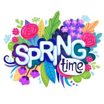 Tempo de primavera de inscrição com flores coloridas, folhas e grama.