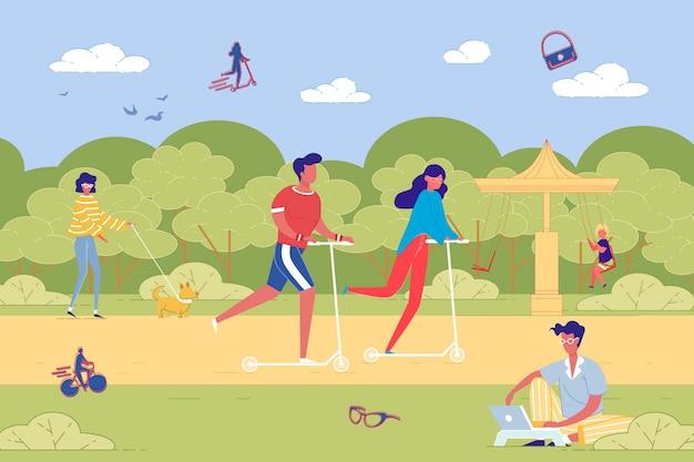 Tempo de recreação de pessoas no parque público da cidade verde