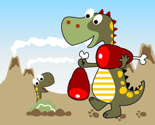 Tempo de refeição familiar de dinossauros, desenhos animados de vetores