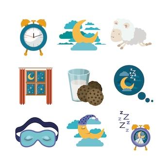Tempo de sono de elementos coloridos