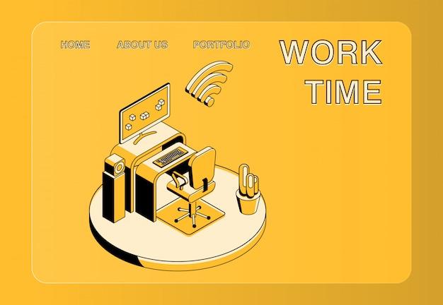 Tempo de trabalho e ilustração de local de trabalho de escritório