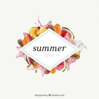 Tempo de verão com aguarelas