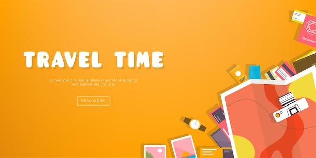 Tempo de viagem. banner de viagem horizontal com elementos de férias