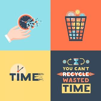 Tempo desperdiçado 4 ícones lisos quadrados