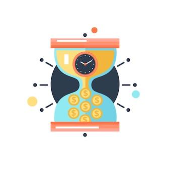 Tempo, dinheiro, conceitual, metáfora, ilustração, ícone