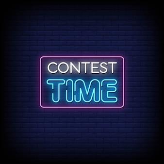Tempo do concurso sinais de néon estilo texto