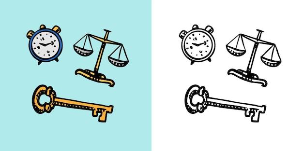 Tempo e ampulheta chave e despertador resolvendo problemas psicológicos vetor retrô de símbolos