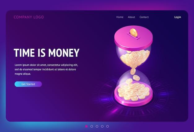 Tempo é bandeira de dinheiro. conceito de negócio de gestão de tempo, economia e investimento. página de destino com ilustração isométrica de moedas de ouro caindo na ampulheta