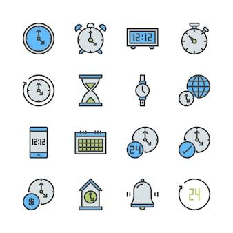 Tempo e conjunto de ícones de relógio