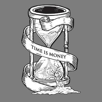 Tempo é dinheiro ampulheta