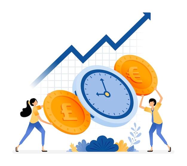 Tempo é dinheiro. aumentar o valor do investimento. pessoas segurando moedas