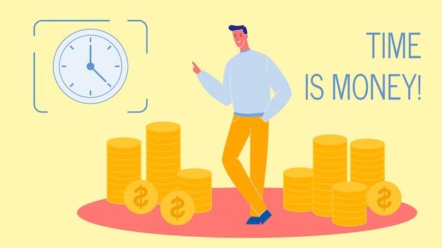 Tempo é dinheiro banner de web vector plana com texto