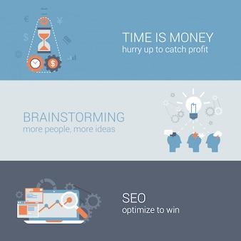 Tempo é dinheiro, brainstorming, conjunto de ícones de negócios seo.