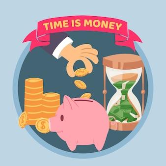 Tempo é dinheiro cartaz azul, ilustração. mão humana coloca dinheiro no cofrinho, moedas de ouro e relógio de areia. economizando dinheiro e tempo conceito com moedas de ouro.