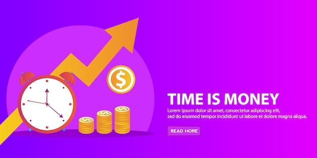 Tempo é dinheiro conceito do negócio no projeto liso moderno.
