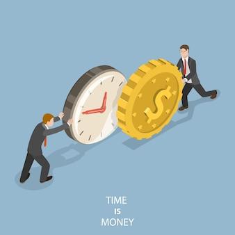 Tempo é dinheiro conceito isométrico plano.