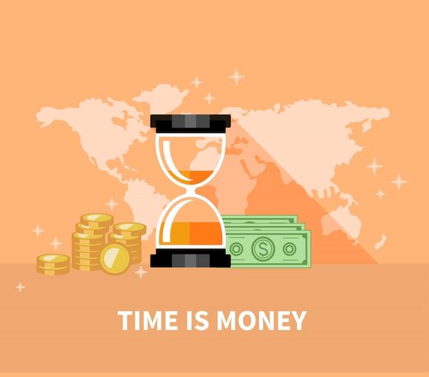 Tempo é dinheiro conceito. moedas de ampulheta