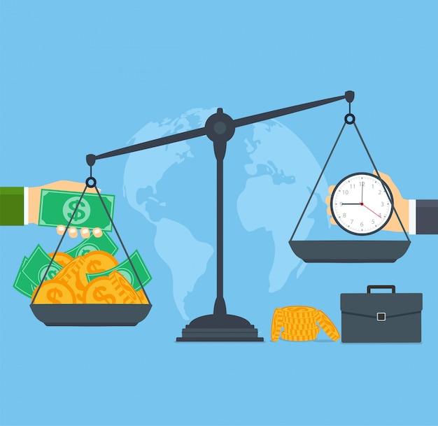 Tempo e dinheiro em escalas, pessoas de negócios de conceito