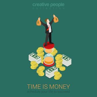 Tempo é dinheiro gerenciamento de programação plana 3d web isométrica infográfico negócios vetor conceito. feliz empresário bem sucedido em ampulheta top levantando as mãos com sacos de dinheiro. coleção de pessoas criativas.