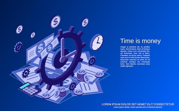 Tempo é dinheiro, gestão, planejamento de negócios, ilustração de conceito de vetor plano isométrico