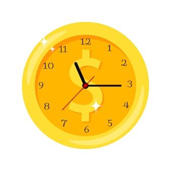 Tempo é dinheiro ícone de relógio amarelo com o símbolo do dólar