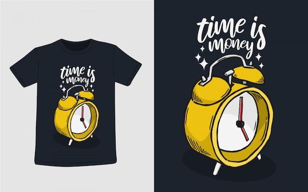 Tempo é dinheiro ilustração de tipografia para design de camiseta
