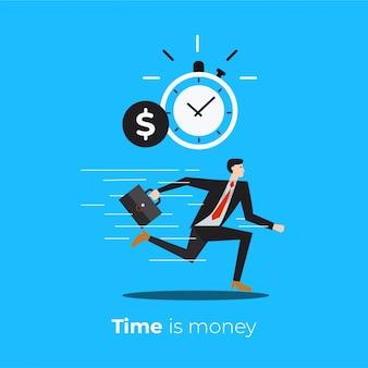Tempo é dinheiro. tempo de gestão com o homem de negócios em execução