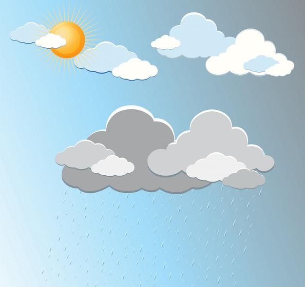 Tempo e nuvens no céu azul